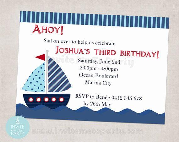 Nautical Birthday Invitation / Sailboat Birthday by InviteMe2Party, $12.00