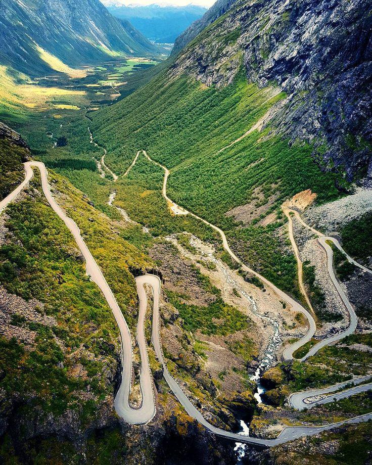 """Trollstigen, aka Trolls' Path, an amazing serpentine mountain road. Norway. #trollstigen #norway #highlightsnorway #travelphotography #travelphoto…"""