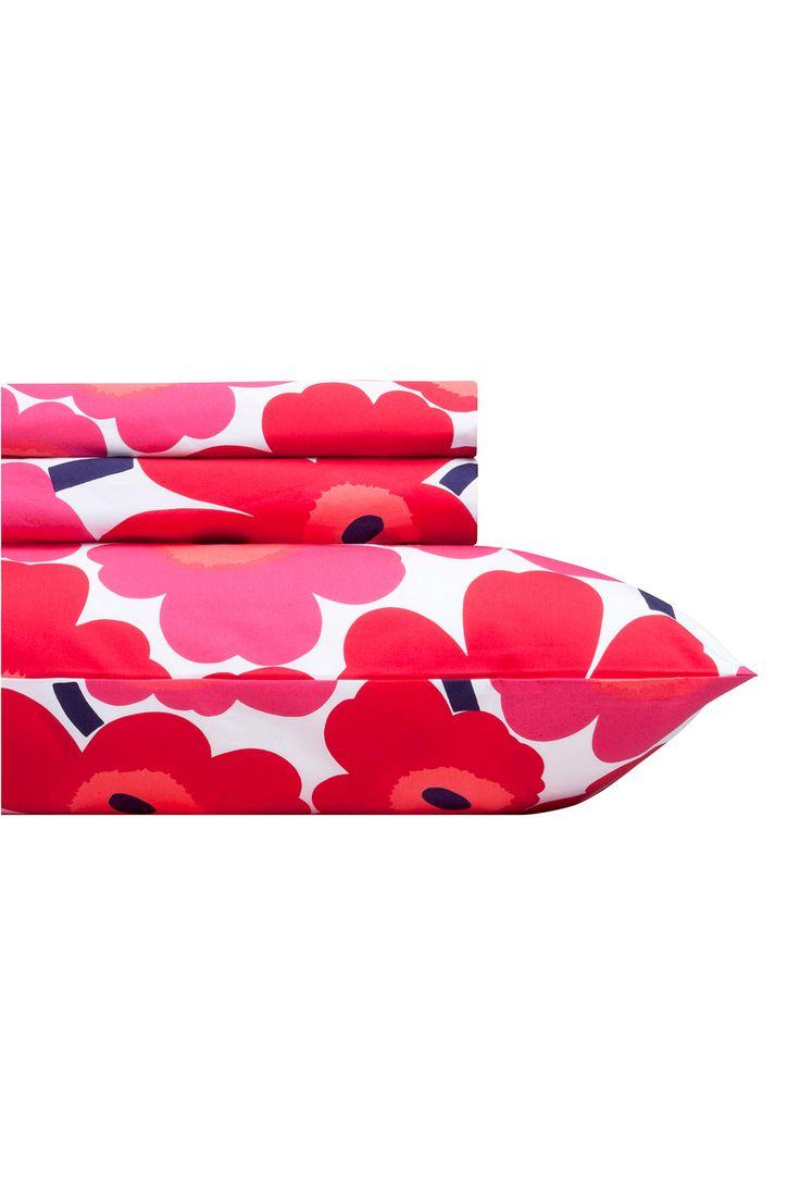 Unikko red Twin-XL Sheet Set