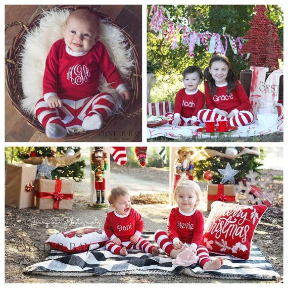 Personalized Kids Christmas PJs - Kids Christmas Jammies - Red and White Xmas Pajamas - Monogrammed Kids Xmas PJs - Family Christmas PJ's