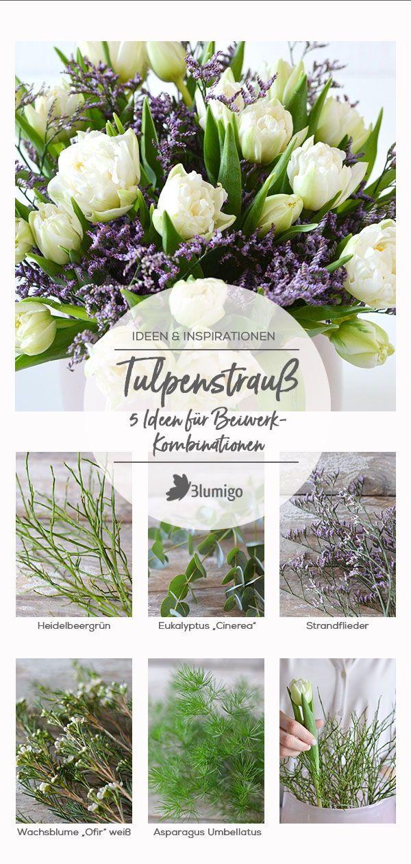 Tulpenstrauss 5 Ideen Fur Fruhlingshafte Beiwerk Kombinationen Besonders Tulpen Lassen Sich Toll Mit Verschiedenem Beiw Wachsende Blumen Strandflieder Tulpen