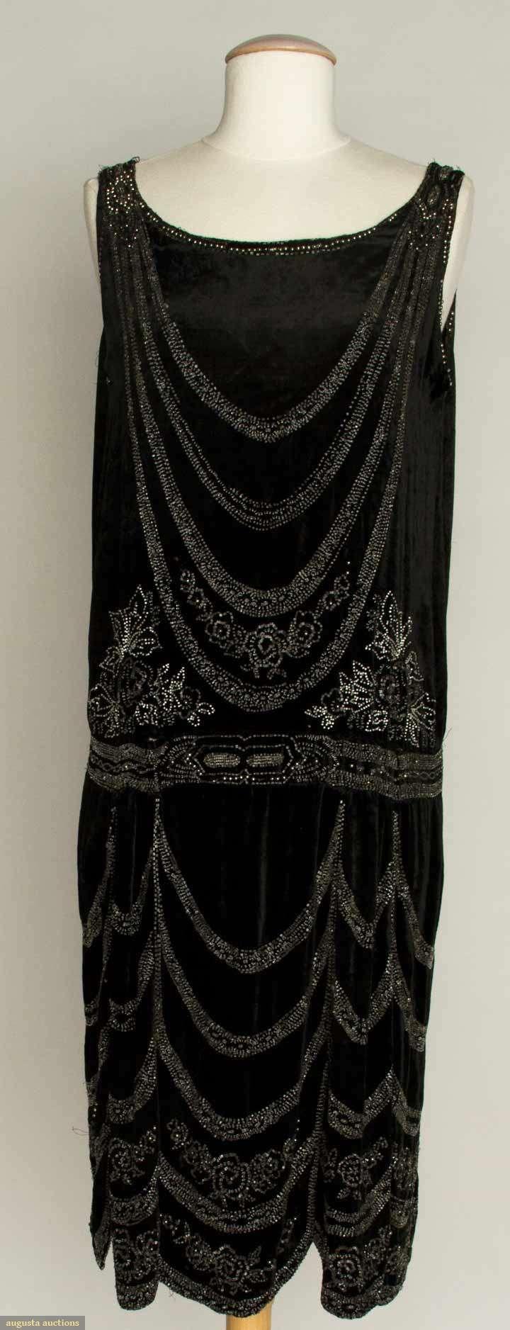 """CRYSTAL BEADED FLAPPER DRESS, 1920s Black velvet, beaded swags w/ flowers, scalloped skirt, B 39"""", W 39"""", L 42.5"""", (bead losses) very good."""