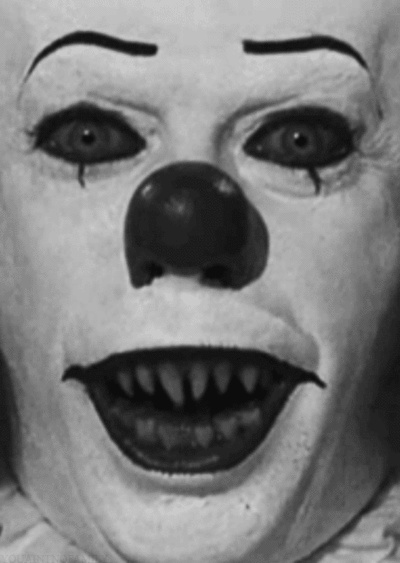 Pennywise the clown from the movie IT -Talk about having nightmares as a child.