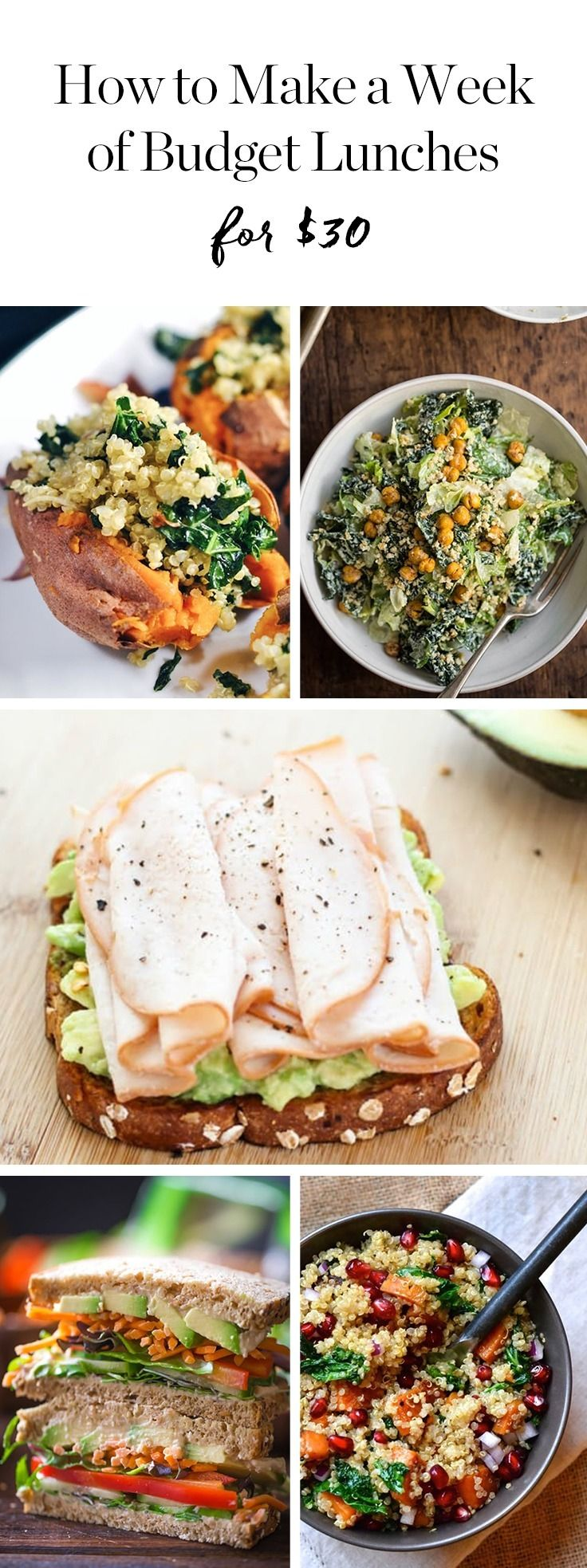 Presenting five exciting lunches that will cost you only $30 to make, plus a few staples you already have in your pantry.