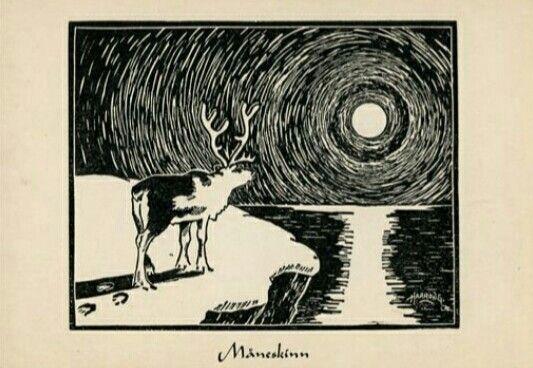 Kunstnerkort Odd Harrong Samisk motiv Måneskinn