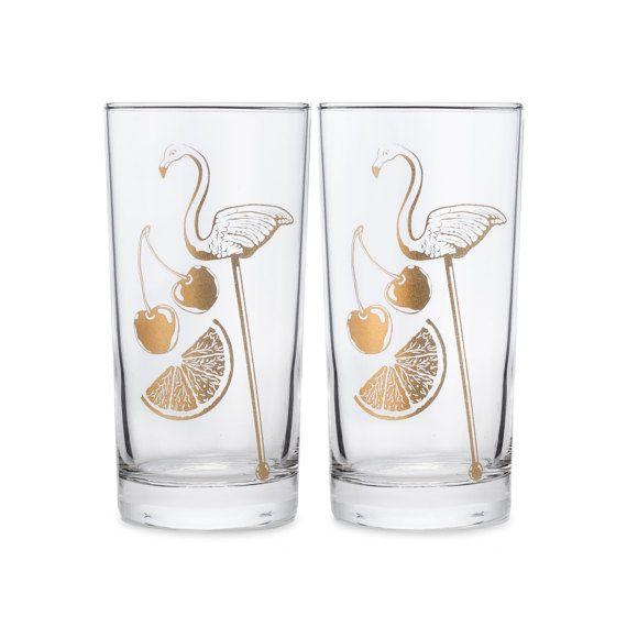Flamingo Glasses  Set of Two Gold Printed Tiki Glasses in