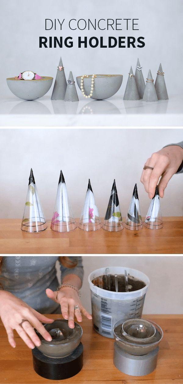 Diese DIY-Ringkegel und Schmuckschalen werden aus Materialien hergestellt, die Sie im Handwerks