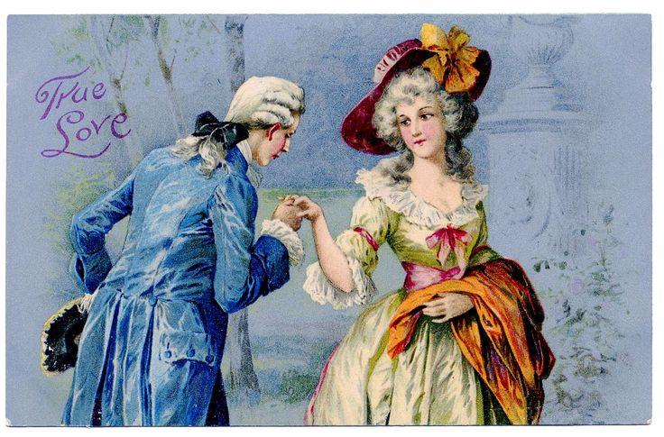 Vintage Valentine's Day Clip Art - Romantic Couple - Marie Antoinette-esque - The Graphics Fairy