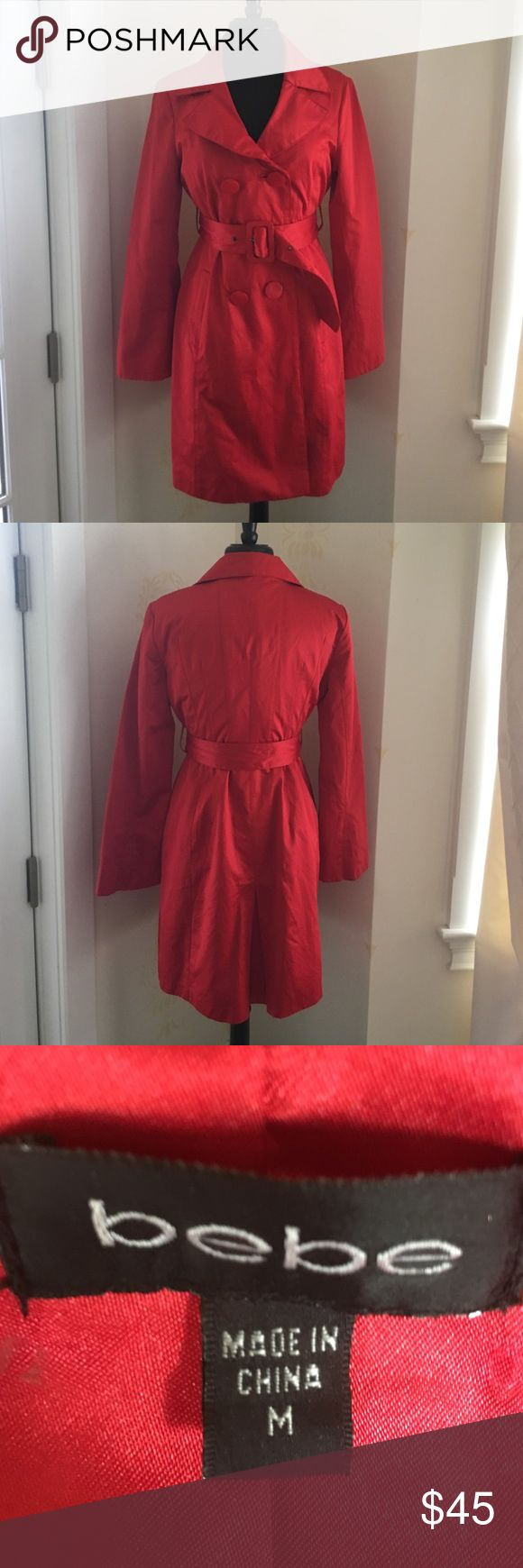 Fire engine red Bebe rain coat Fire engine red Bebe rain coat. Lightly used beautiful slimming fit. bebe Jackets & Coats Trench Coats