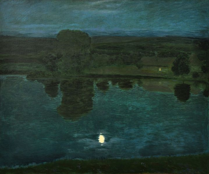 Night on the pond, Hudeček Antonín. Czech (1872 - 1941)