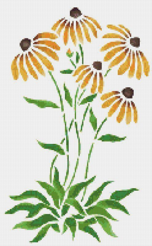Orange Coneflowers Cross Stitch Pattern Flower by xstitchpatterns, $3.00