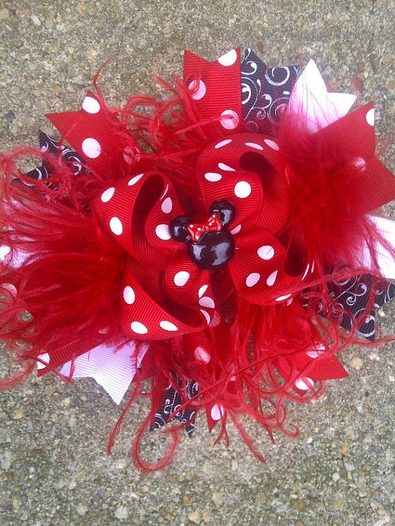 Minnie Mouse Over the Top Hair Bow So Cute by sweetiepiehairbow, $12.99