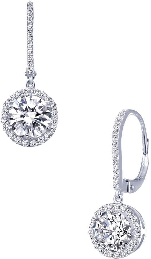 faa4b247f Lafonn Women's Classic Round Halo Drop Earrings with Simulated Diamonds