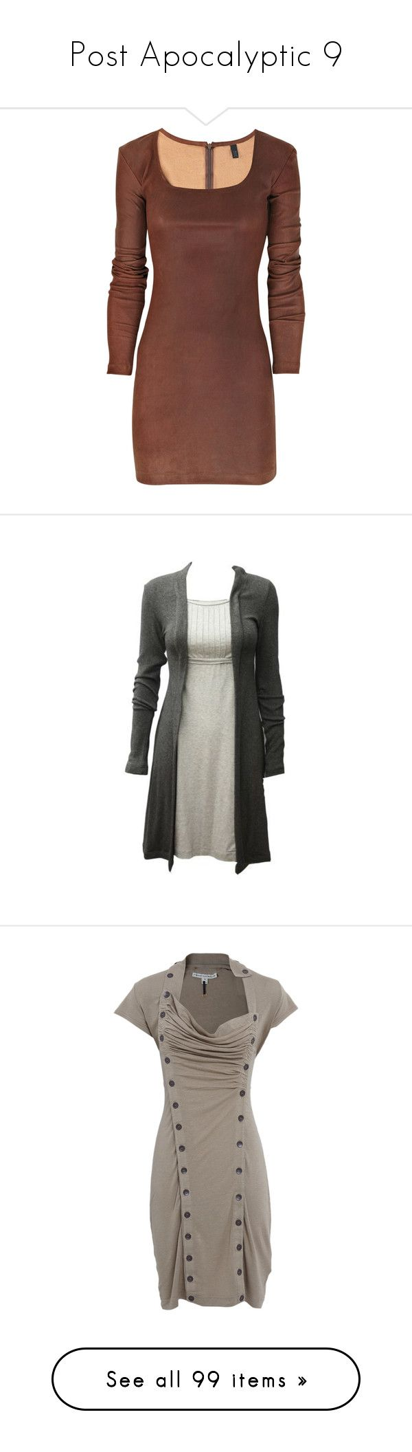"""""""Post Apocalyptic 9"""" by eternius ❤ liked on Polyvore featuring dresses, vestidos, short dresses, robes, women, leather cocktail dress, short brown dress, stretch dresses, leather mini dress and brown dress"""