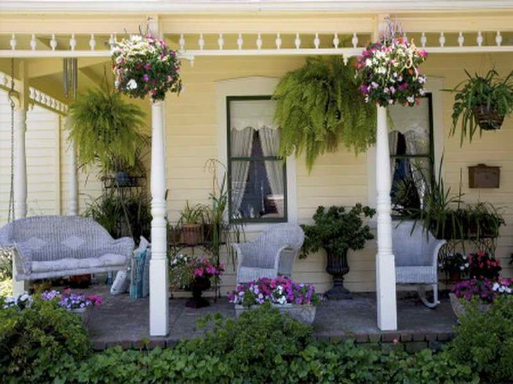 1000 ideas about small back porches on pinterest back for Front porch hanging plants