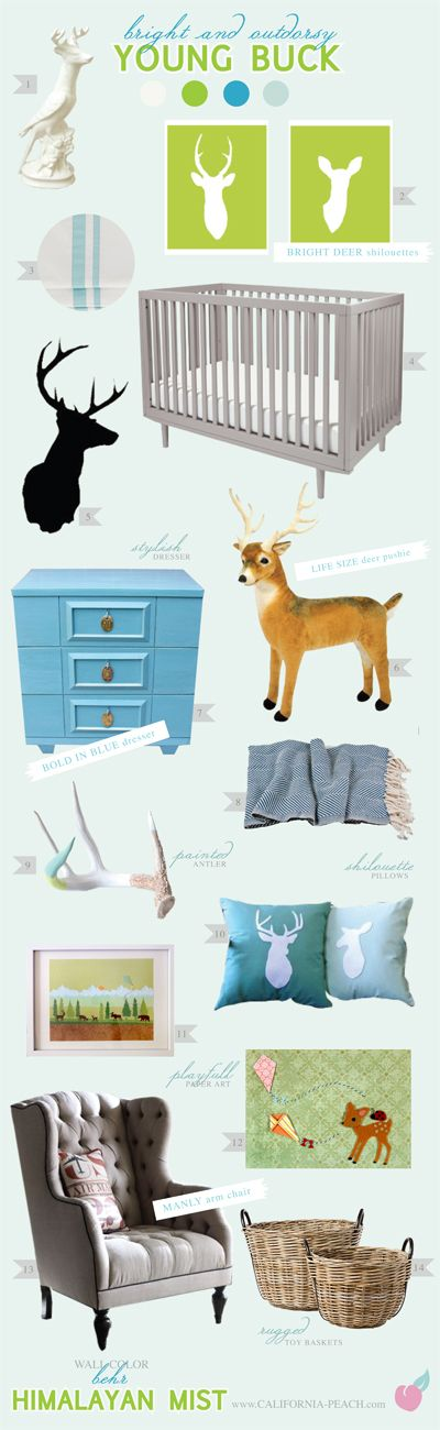 California Peach: Young Buck - Nursery / Baby Room -- Deer, Kites, Kite, Silhouette, Antler, Nature, Natural, Indie, Modern, Toddler Room, Toddler Bed, Twin Bed, Kids, Kid, Nursery, Baby Room, Baby, Nursery, Blue, Green, Grey, Brown, White, Light, Wall Paper, Wallpaper, Boy, Masculine, Art, Baby Room, Nursery, Style Board, Oeuf, Crib, Non-Toxic, Green 0VOC, Eco Friendly, Organic