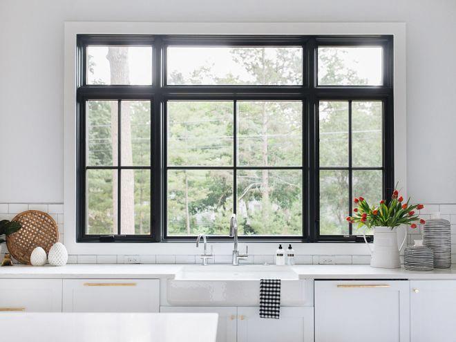 Kitchen Black Window Kitchen Black Windows Above Sink Kitchensink Kitchen Window Design Modern Windows Modern Farmhouse Kitchens