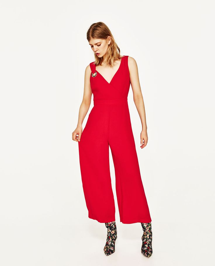 Image 1 of CROPPED JUMPSUIT WITH METALLIC DETAIL from Zara