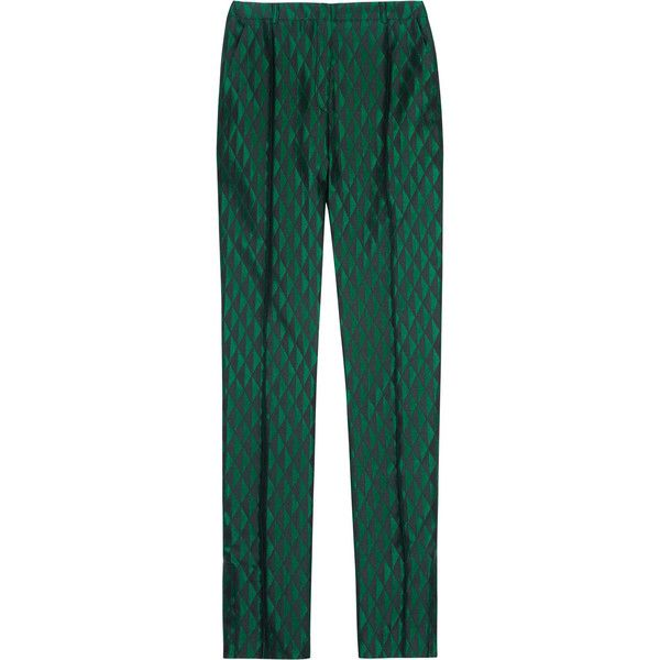 Jonathan Saunders Julia brocade straight-leg pants ($423) ❤ liked on Polyvore featuring pants, bottoms, trousers, брюки, forest green, forest green pants, ankle zip pants, green pants, high-waisted trousers and straight leg pants