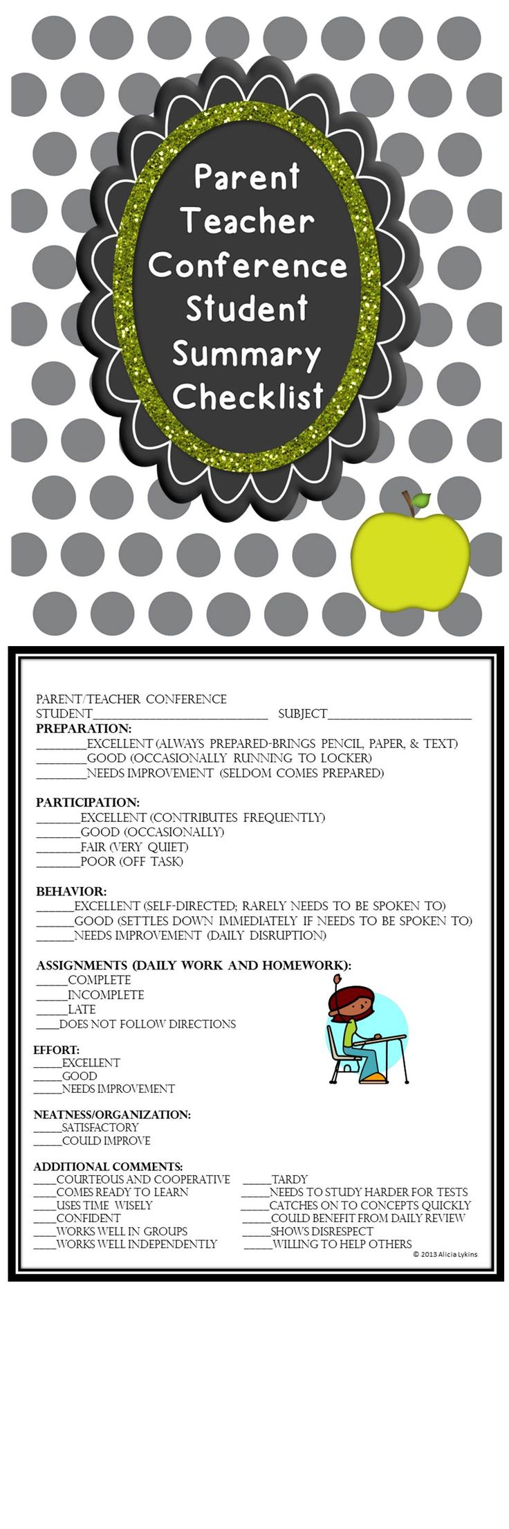 Parent Teacher Conferences can't get any easier!  Quick and thorough checklist to give parents for a snapshot of their students progress, behavior and classroom readiness.