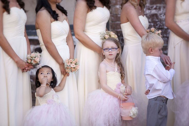 Southern Wedding Flower Girls and Ring Bearer  Southern Wedding Bride + Groom | Ava Moore Photography | Rustic industrial wedding | blush wedding dress | railroad museum