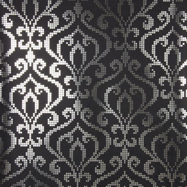 2542-20754 Silver Foil Mini Damask - Venus - Sparkle Wallpaper by Kenneth James