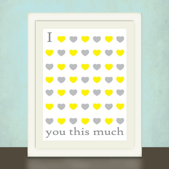 Modern Nursery Art In Yellow And Grey I Love You This