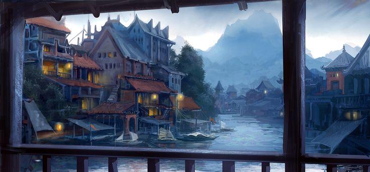 City on the river, Daniele Montella on ArtStation at https://www.artstation.com/artwork/city-on-the-river-344192e6-0d81-4aa5-b00b-331bf2ab9da2