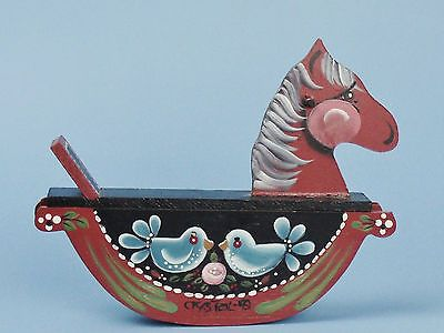 Hand Painted Wood German-Style Rocking Horse Tole Painting