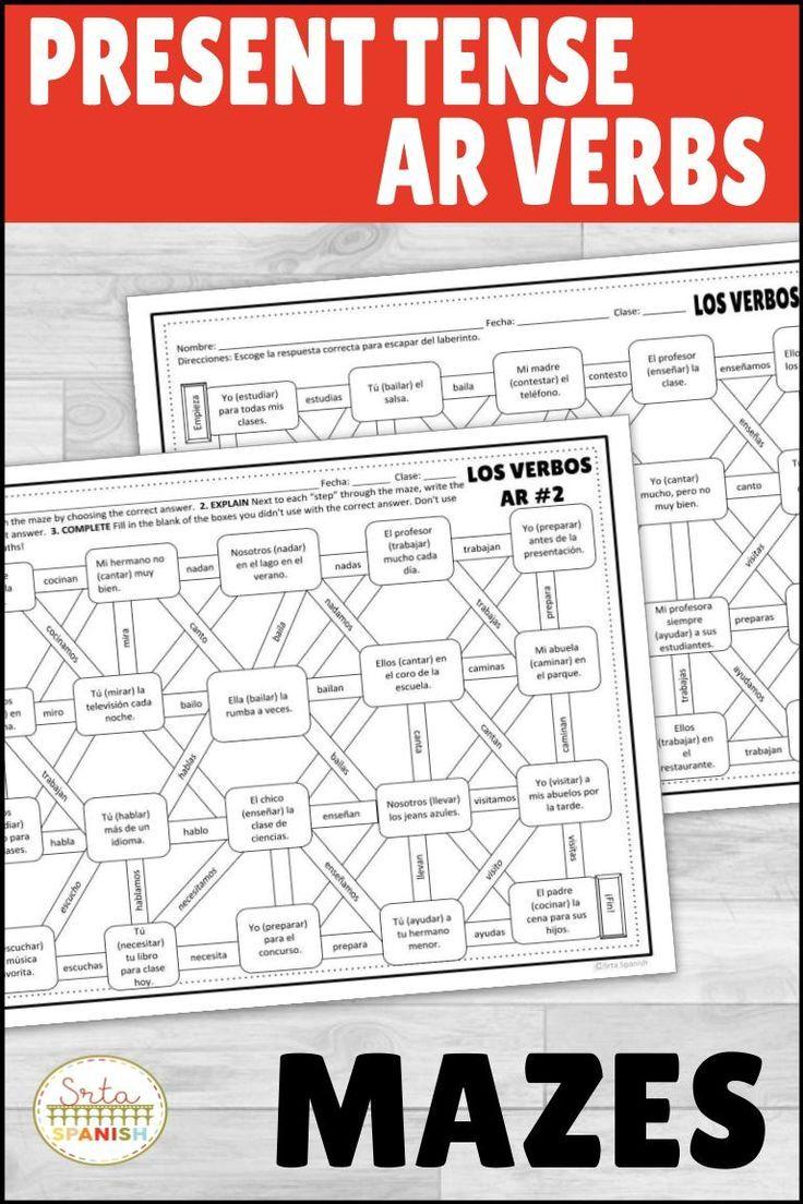 Spanish Present Tense Ar Verbs Maze Practice Activity With Digital Option High School Spanish Spanish Lesson Plans High School Spanish Classroom [ 1104 x 736 Pixel ]