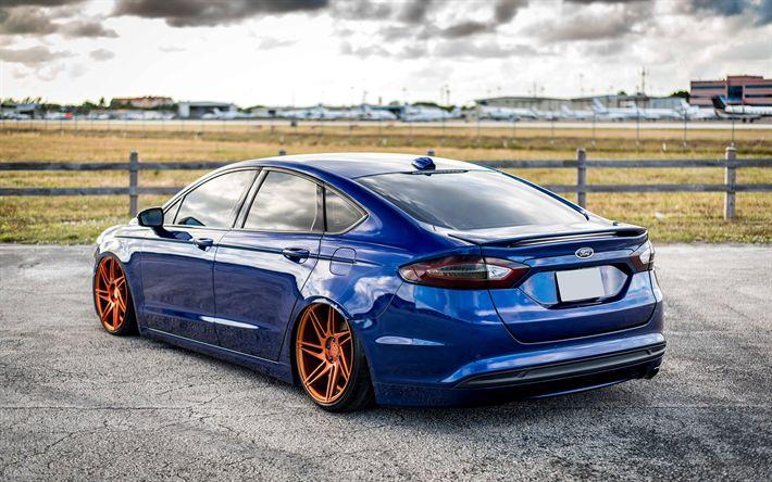 Télécharger fonds d'écran Ford Fusion, 4k, tuning, supercars, low rider, la posture, Ford
