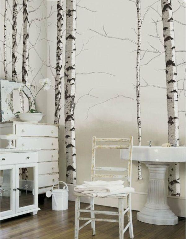 Vintage Zimmer mit Wandtapete auf Birken Mehr