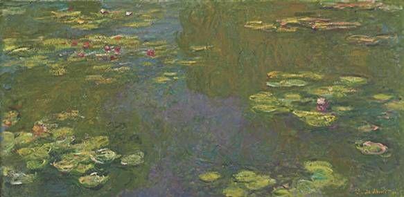 수련이 핀 연못 클로드 모네 Claude Monet(1840~1926)# 1919년, 캔버스에 유채, 100.3 x 200.9cm    모네는 86년 긴 생애의 마지막 30년을 수련 연작에 바쳤다. 20대와 30대 내내 거처를 옮겨 여기저기 떠돌다가 43세에 파리 근교 지베르니에 정착한 모네는 손수 정원을 가꾸고 연못을 파 수련을 키우며 그림을 그렸다.