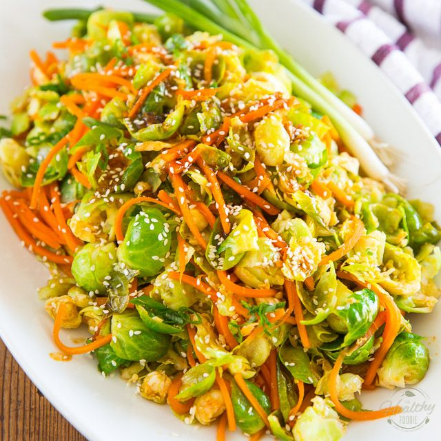 Sesame Maple Glazed Brussels Sprouts and Carrots • The Healthy Foodie