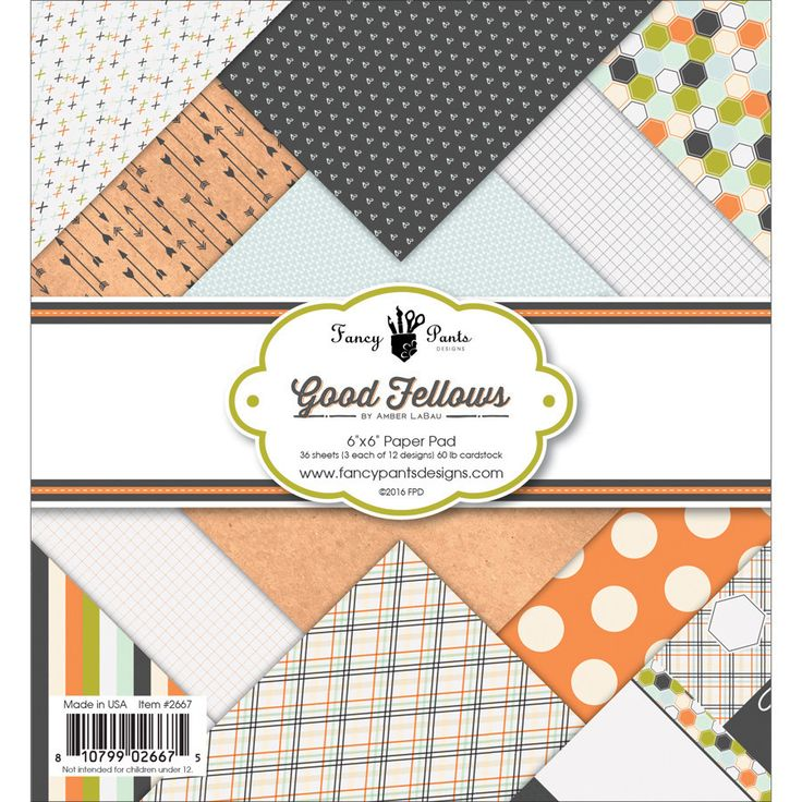 "Fancy Pants Designs Good Fellows Paper Pad 6""x6"""