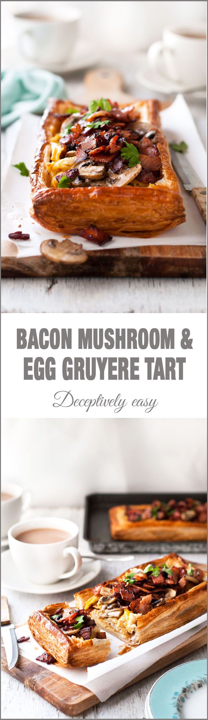 Bacon Mushroom & Egg Tart with Gruyere Cheese - looks fancy, but simple to make using puff pastry!