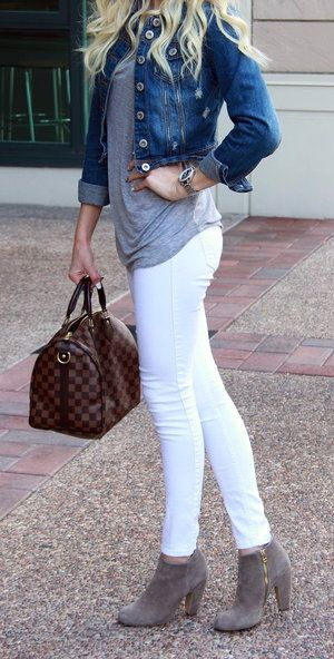White jeans, denim jacket, adorable boots, looser grey shirt, adorable outfit!