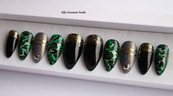 Camouflage nails black stiletto nails Como nails kylie