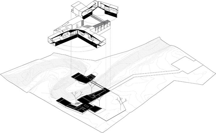 House on a Stream - Architecture BRIO exploded axonometric #architecturedrawing #conceptsketch