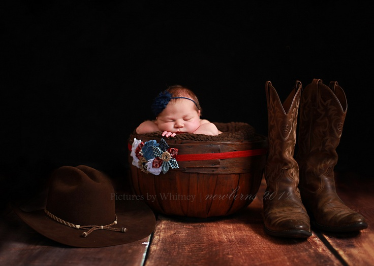 A little bit of my own personal work . . . Newborn Photography.  Newborn Baby Cowgirl Picture.