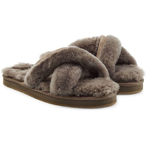 UGG Australia Abela Shearling Flip Flops ($83) ❤ liked on Polyvore featuring shoes, sandals, flip flops, grey, grey flip flops, ugg sandals, thick sandals, gray sandals and gray flip flops