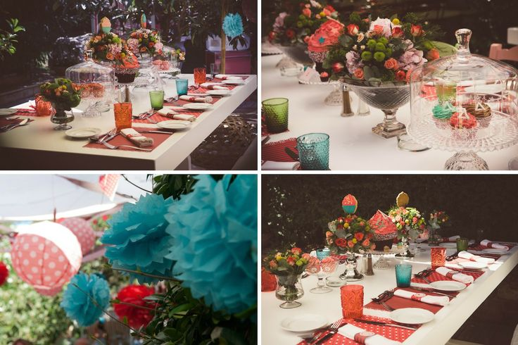 French Patisserie Christening Event @Am Villa In Ekali by De Plan V. Art de la table, decoration details, flower arrangements, hanging paper balls!