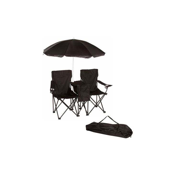 Trademark Innovation Double Folding Camp and Beach Chair with Removable Umbrella and Cooler - Black