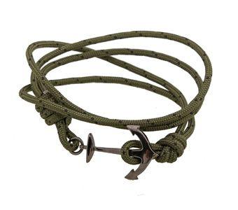Handmade jewelry, men`s bracelet ship anchor made from black platinum plated silver 925o with navy cord - Χειροποίητο κόσμημα, αντρικό βραχιόλι άγκυρα πλοίου από ασήμι 925ο με μαύρο πλατίνωμα και ναυτικό κορδόνι σε πράσινο χρώμα @ http://www.theodorajewellery.com/jewel/gr/2134/