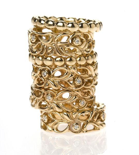 #PANDORACrabtreeLoves mixing metals, but there is nothing wrong with a beautiful solid gold ring stack.