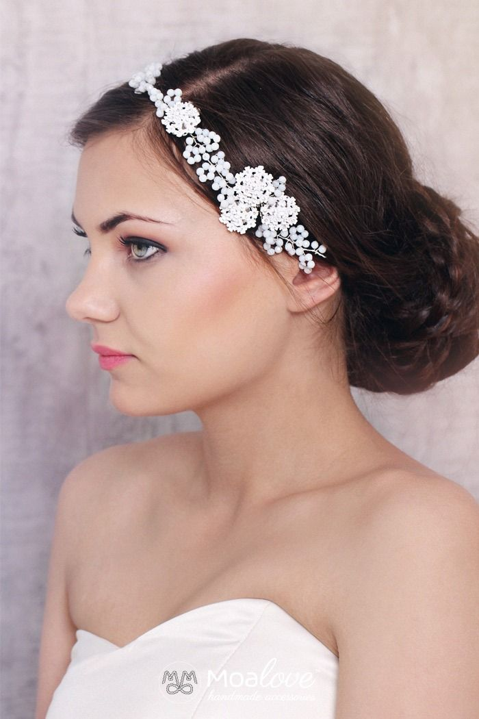 Harley | floral beaded white alabaster halo - MoaLove Accessories