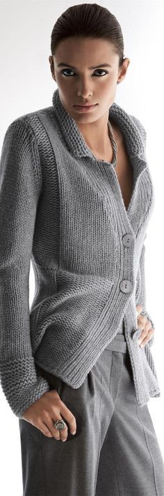 Knitted cardigan sweater with alternating garter stitch and knit stitch panels…
