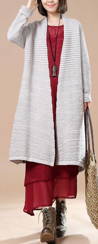 Fine gray woman sweater jackets long knit coats