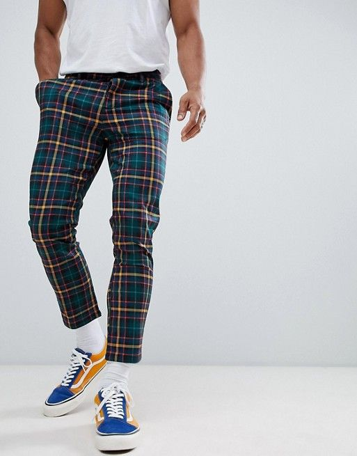 d985210e6a56 DESIGN skinny cropped pants in plaid check in 2019 | FASHION ...