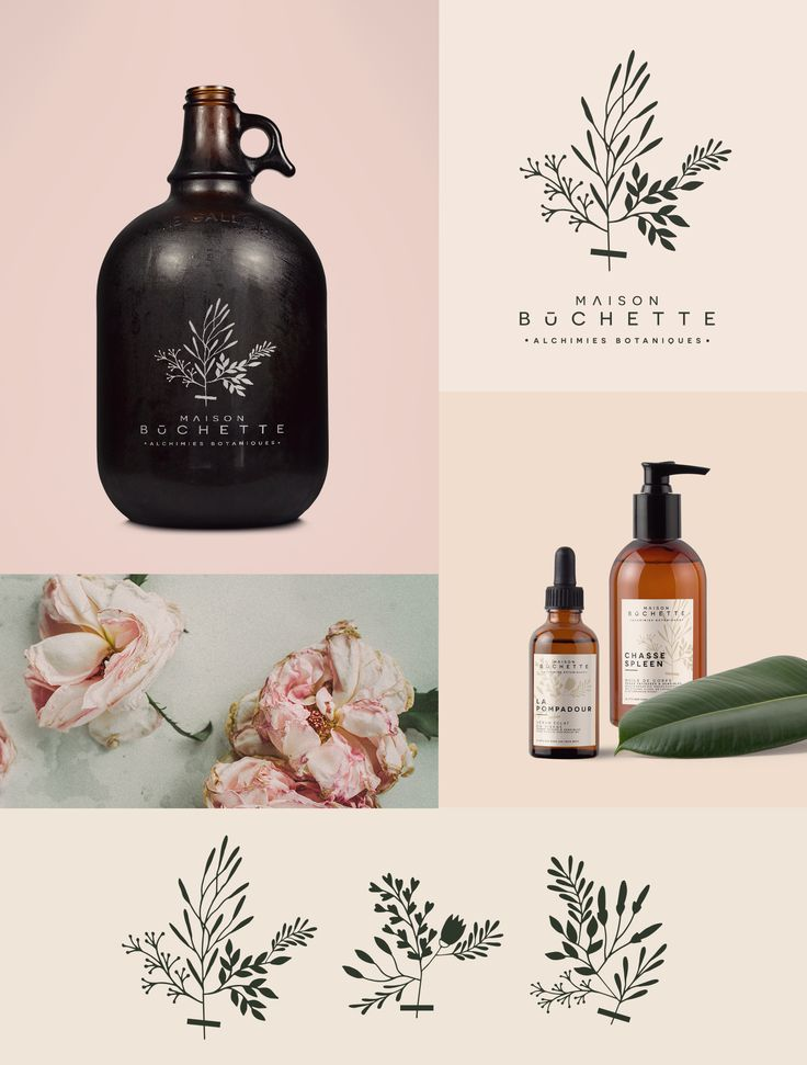 Branding for Maison Bûchette, artisanal manufacture of candles and natural beauty serums made from essential oils, waxes and vegetable organic oils.